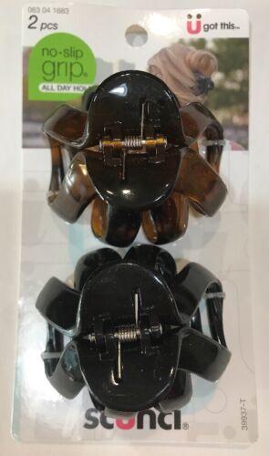 SCUNCI NO SLIP GRIP OCTOPUS CLAW HAIR CLIPS - TORTOISE/BLACK