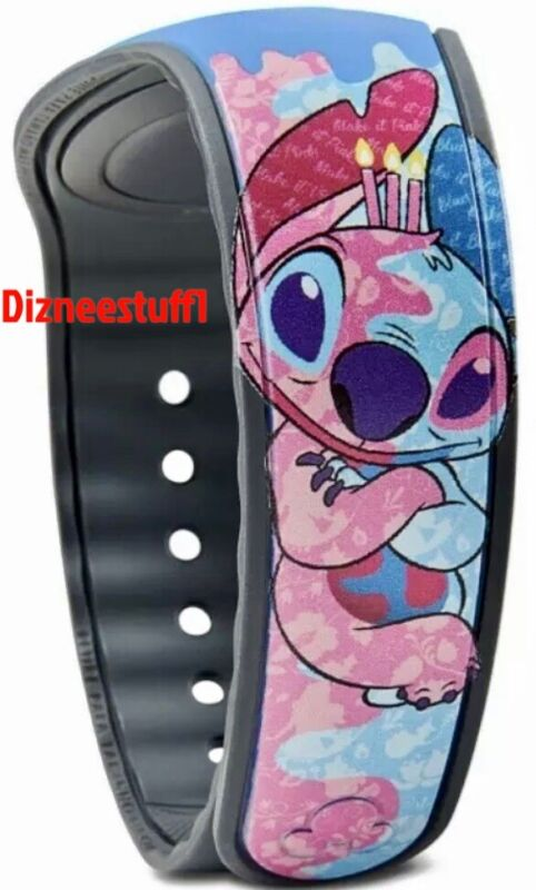 Disney Parks Stitch Crashes Sleeping Beauty Blue Pink Magicband Linkable LR NEW