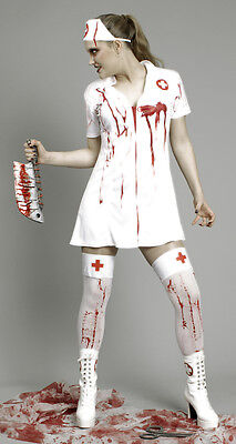 Kostüm blutige Krankenschwester 2tlg Kleid 36 38 40 42 44 46 - Blutige Zombie Kostüm