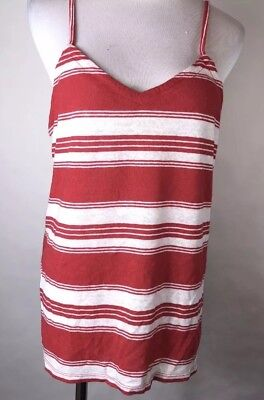 Universal Thread Womens Cross Back Tank Top Red/White Stripe Large