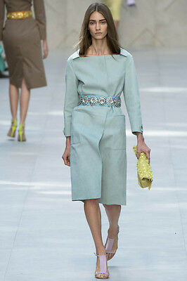 BURBERRY PRORSUM $6,500 BABY BLUE SUEDE COAT LONDON FASHION WEEK RUNWAY NWT 46