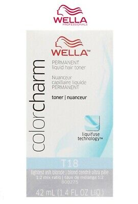- Wella Color Charm Permanent Liquid Toner [T18] Lightest Ash Blonde 1.4 oz /42ml