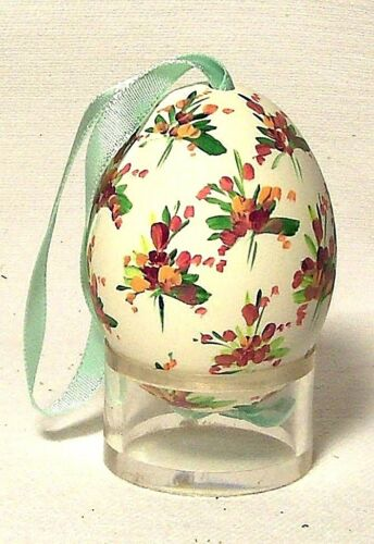 Genuine Hand painted Duck Egg w Pink/Purple Floral Easter Tree Ornament Poland