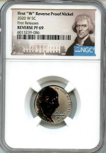 "2020 W First ""W"" Reverse PF Nickel First Releases NGC Reverse PF69 Portrait"