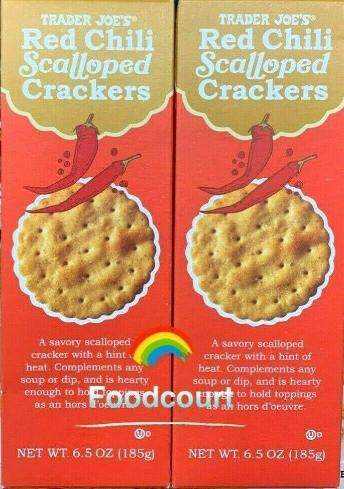 2 Packs Trader Joe's Red Chili Scalloped Crackers 6.5 oz Eac
