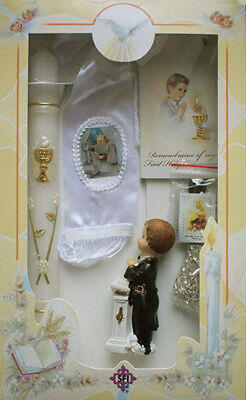 New Boys First Holy Communion Candle Box Gift 6 Pc Set English Missal Rosary -