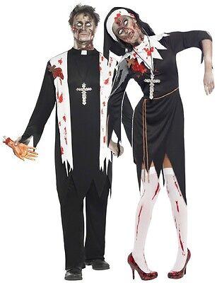 Couples Mens & Ladies Fancy Dress Zombie Nun & Priest Halloween Costumes Outfits - Nun Halloween Costume For Men