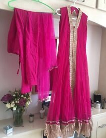 Hot pink long dress style Asian outfit