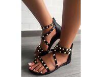 Women's gladiator black sandals