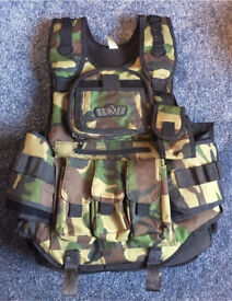 GXG Paintball airsoft tactical vest woodland camo