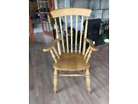 High backed solid pine chair