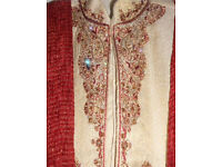 Sherwani 3 piece cream gold red maroon wedding groom Indian Pakistani any near offer