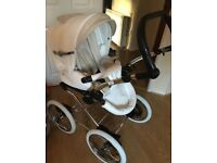 Beautiful white and beige stroller