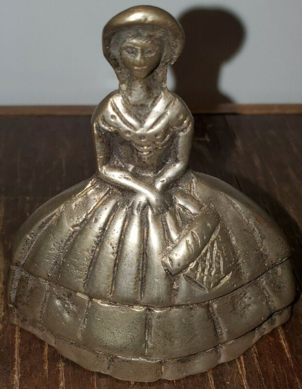 Vintage Solid Brass Bell Antebellum Lady in Sun Hat w/ Basket Bonnet Collectible