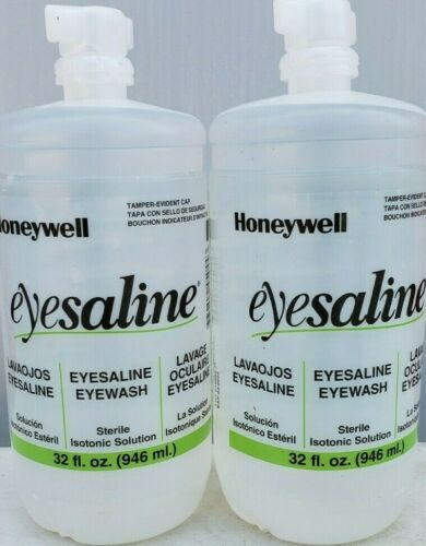 2-Honeywell Eyesaline Eyewash Station Refill, 32 oz, Exp. 02/2022