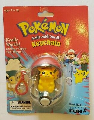 Pokemon Pikachu Keychain Clip Pokeball 1999 Basic-Fun 751-0 #25 Nintendo VTG