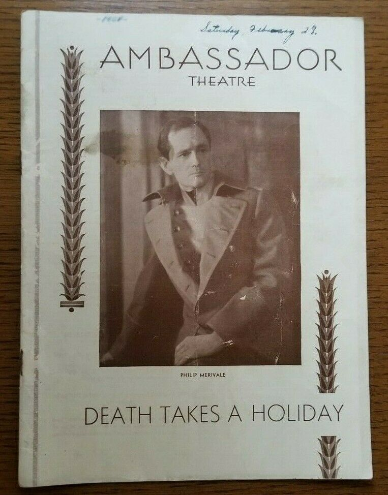 DEATH TAKES A HOLIDAY Philip Merivale 1931 Playbill - $12.00