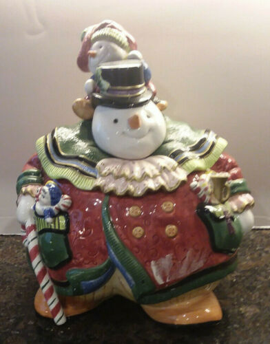 Fitz And Floyd Snowman Cookie Jar-Signed