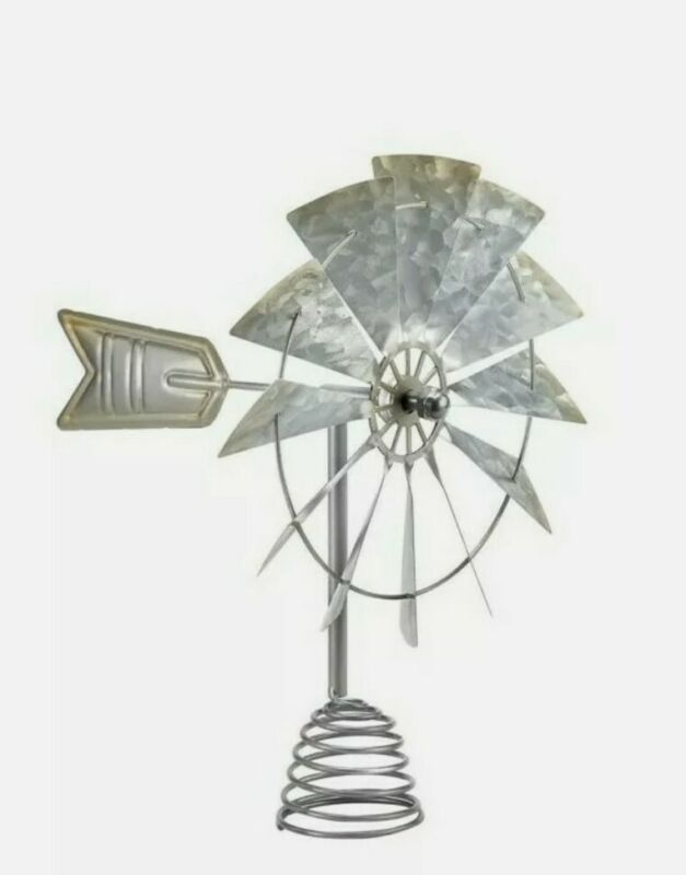 New! WINDMILL Christmas Tree Topper Red Shed FARMHOUSE Galvanized Metal Country