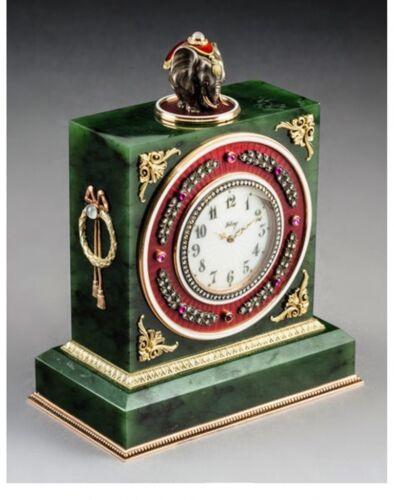 A079 A nice Spinach Jade 14K Vari-Color Gold, Diamond and Cabochon-Mounted Clock