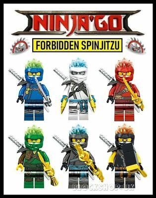 NINJAGO FS x 6 FORBIDDEN SPINJITZU - KAI,ZANE,COLE,JAY,NIA,LlOYD - fit lego