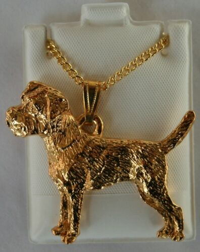 Border Terrier Dog 24K Gold Plated Pewter Pendant Chain Necklace Set