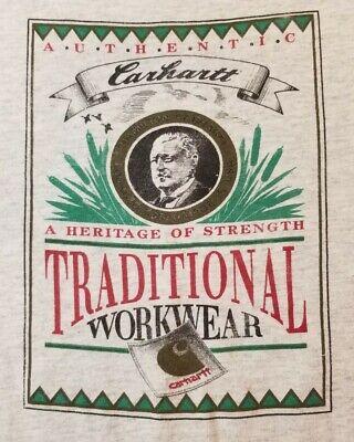 Vintage 90s Single Stitch Carhartt USA MADE T-Shirt Heritage of Strength RARE XL