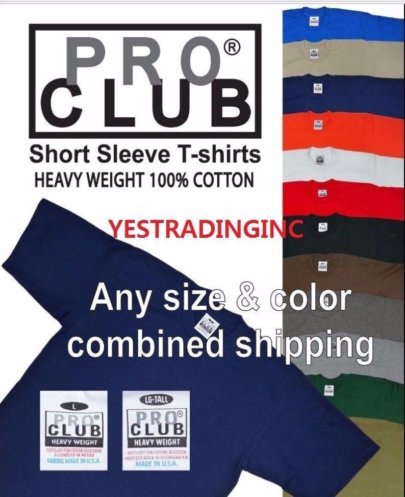 PRO CLUB PROCLUB Heavy Weight Short Sleeve Plain Tall or Reg T-shirt Tee S-5XLT