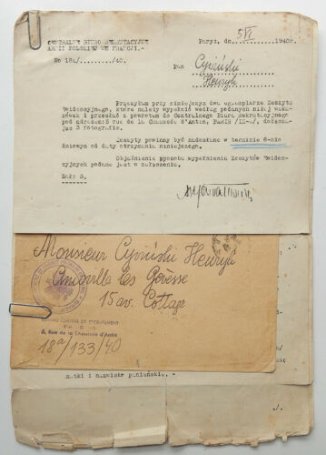 POLISH ARMY IN EXILE IN FRANCE STAMPLESS COVER & DOCUMENTS JUNE 5, 1945 WW2