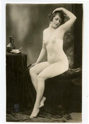 1920s Nude French RPPC Real Photo Postcard BEAUTIFUL LADY Nice Figure