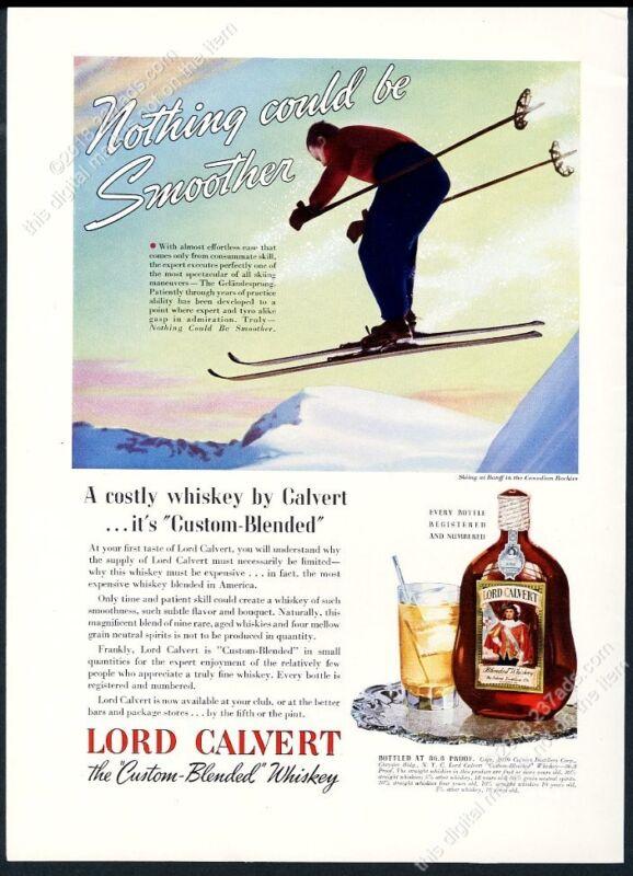 1939 Banff skiing skier photo Lord Calvert Whiskey vintage print ad