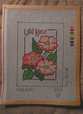 Holiday Vintage Three Wild Roses Needlepoint Canvas - 14 ct