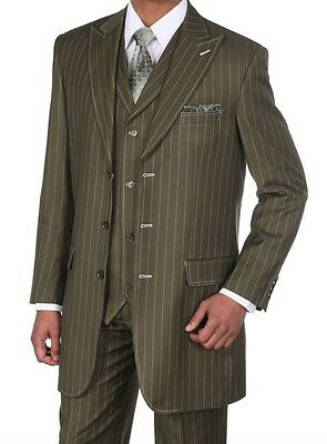 Men's Gangster Pin-Striped Three Button Suit w/ Vest 5903 Olive Size 38R-56L - Gangster Vest