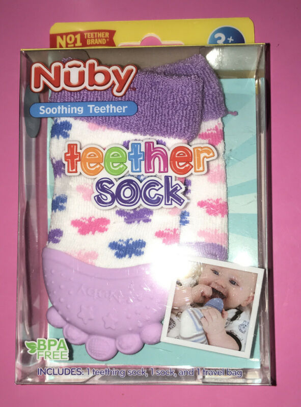 BNWT Nuby Soothing Teething teether Socks 3+ months BPA free silicone Purple