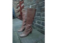 Light brown knee-high ladies ECCO boots - size 5 (38eu)