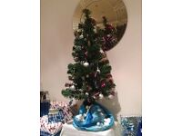 2.5ft Green Fibre Optic Christmas Tree, plus wreath, decorations, wrapping paper