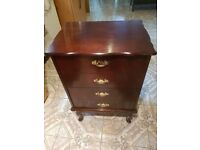Queen Anne style mahogany effect filing cabinet