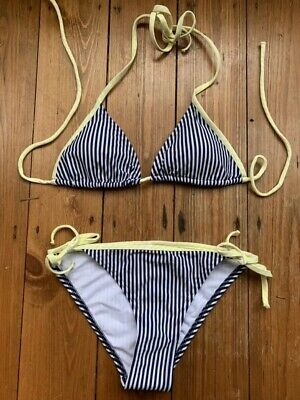 Candy Stripe Navy Blue Bikini Marks And Spencer Side Tie Size 8