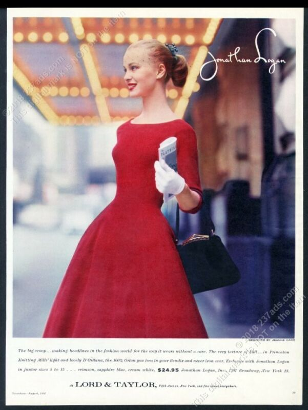 1956 Jonathan Logan red dress photo Lord & Taylor vintage print ad