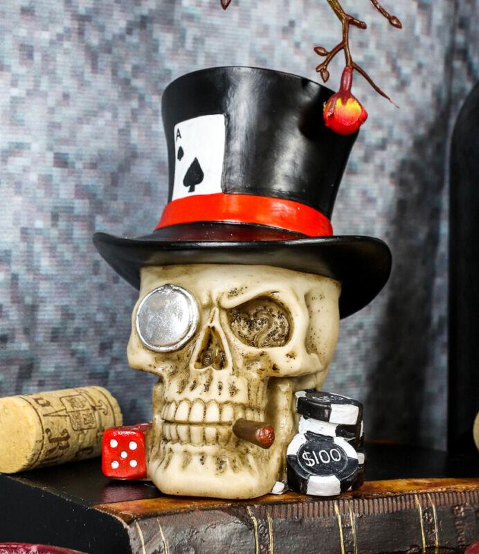 Ebros Casino Royale Poker Cards Dice & Chips Skull W/ Top Hat Cigar Figurine