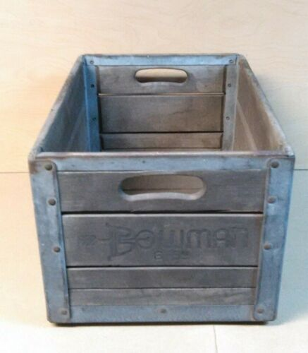 VINTAGE BOWMAN Wooden 1959 MILK Crate Case Box Carrier ADVERTISING COLLECTIBLE