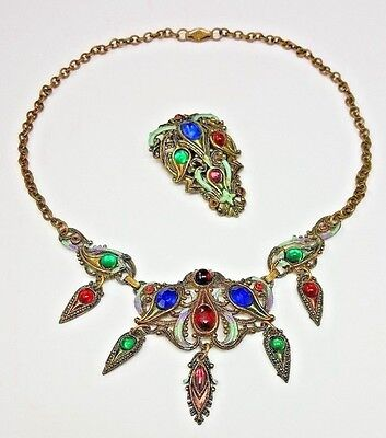 ART NOUVEAU DECO VINTAGE NEW ENGLAND GLASSWORKS DEMI PARURE RARE NECKLACE SET