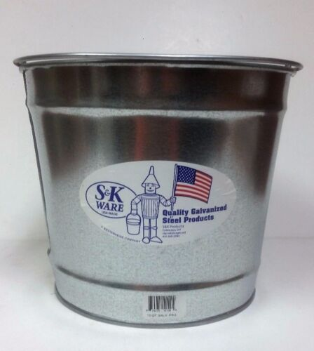 S&K Ware 10 Quart Galvanized Steel Pail / Bucket with handle  (pack of 3)