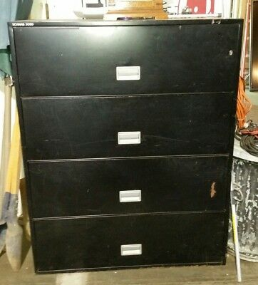 Schwab 5000 Fireproof 4 Drawer Lateral File Cabinet Black With Key