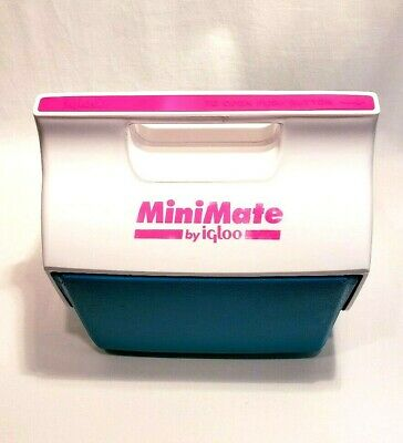 Igloo Cooler Mini Mate 6pk Cans Retro Pink Neon Teal Green Made in USA