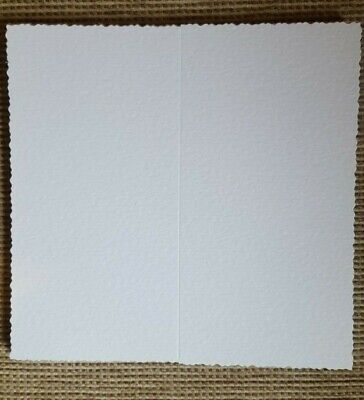 Tall single fold white hammer deckle edged cards ()