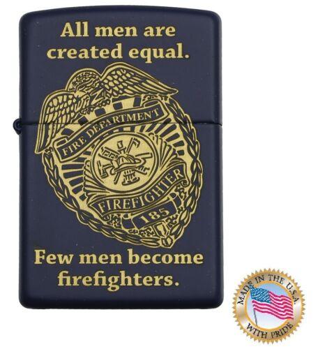 Zippo Firefighter Lighter Black with Fire department badge logo
