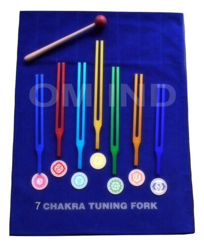 Color Therapy 7 Chakra Tuning Fork With Velvet Pouch & Mallet