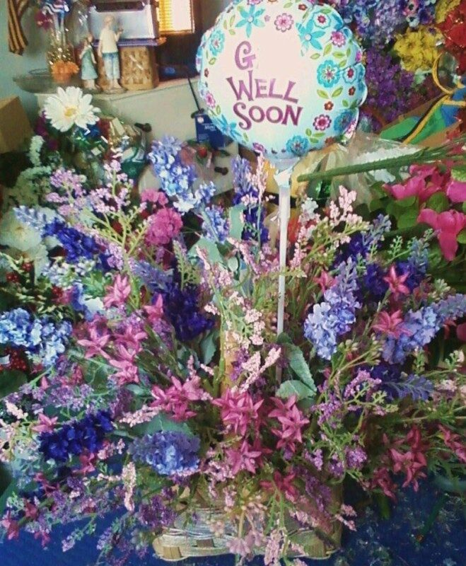 Colorful Get Well Soon Birthday Silk Bouquet Basket Arrangement Balloons vary