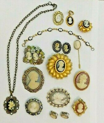 Large Group Vintage Cameo Jewelry - Brooches, Earrings, Bracelet, Pendant, -